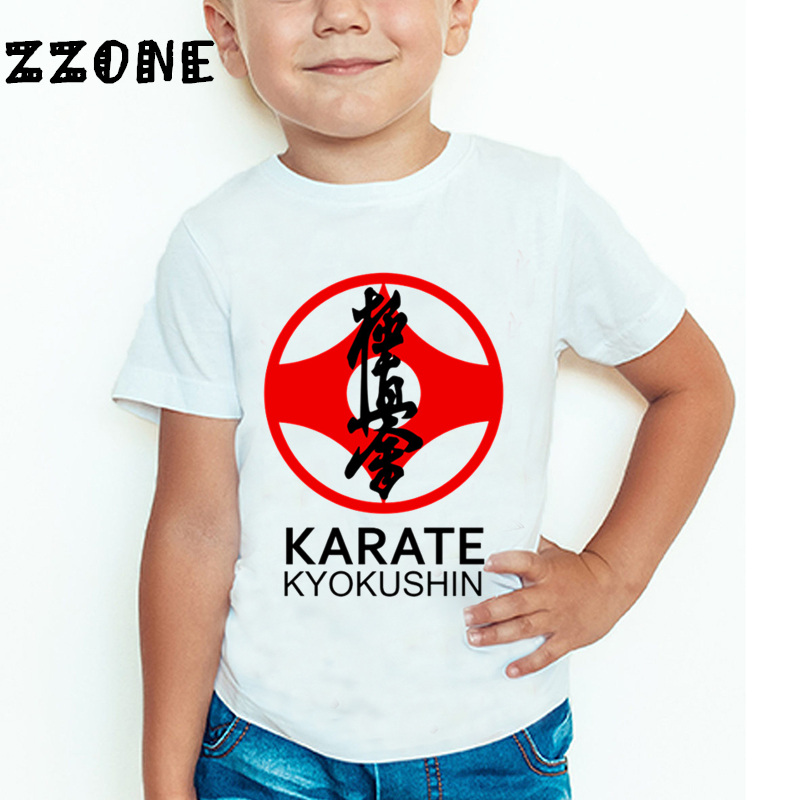 Children Kyokushin Karate Print T shirt Baby Boys/Girls Short Sleeve Summer Tops Kids Casual T-shirt,HKP699 kids cccp ussr gagarin print t shirt boys and girls the soviet union russia space design tops baby summer white t shirt hkp2437