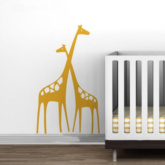 free shipping large size 56x96cm vinyl baby zoo mom and baby giraffe