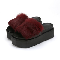 High Heels Winter Warm Cute House Slippers Women Indoor Fashion Furry Slippers Leopard Grain Home Slippers
