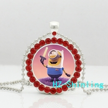 New Trendy Minions Pendant Necklace Despicable Me Pendants Anime Photo Jewelry Silver Crystal Necklaces Ball Chain Gifts
