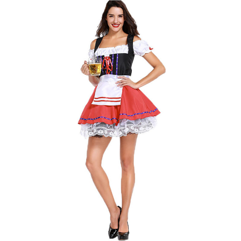 Red Beer Wench Girl Adult Women Costume German Oktoberfest Maiden Dress Party Outfit Halloween Costume MD8940