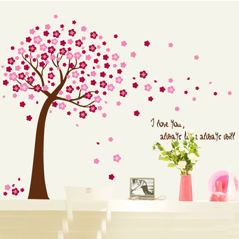 Large 3d Pink Flower Family Tree Wall Decals Removable Wall Pcitures For Living  Room