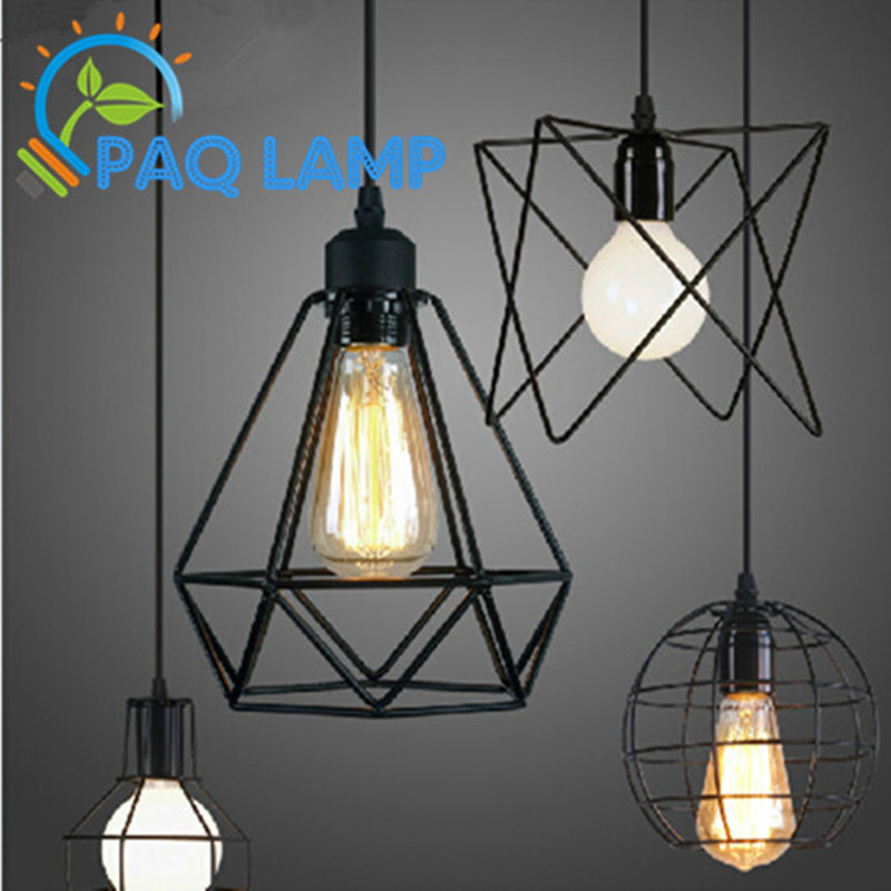 Loft lamp vintage pendant light led light balck iron metal for Suspension luminaire cage