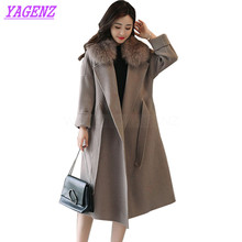 Winter Woolen Jacket Women Korean Temperament Long Wool coat Young Women Fashion Raglan sleeve Gray High quality Overcoat B258
