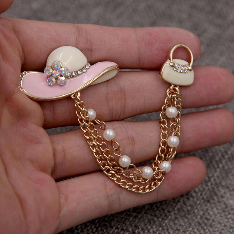 甘い女の子ピンクエナメル太陽帽子ブローチハンドバッグパール金属チェーン女性ブラウスラペルピンのファッションジュエリーアクセサリー