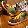 Nice Colorant Match High Lacing Flat Bottom Canvas Shoes Denim Shoes Lady Vintage Shoes