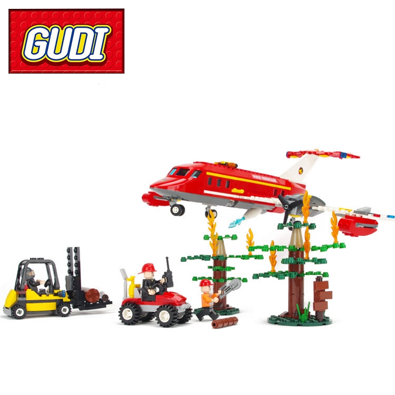 GUDI 9216 Fire Forces Special Firefighting Aircraft Airplane 431pcs Building Blocks Kids DIY Brick Toy for Children Gift