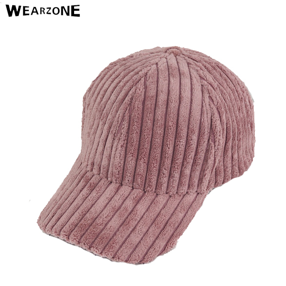 Wearzone Women plate stripe corduroy Baseball Velvet Cap Hip Hop Solid Color Thick Warm Mens Baseball Caps Female Winter Hat