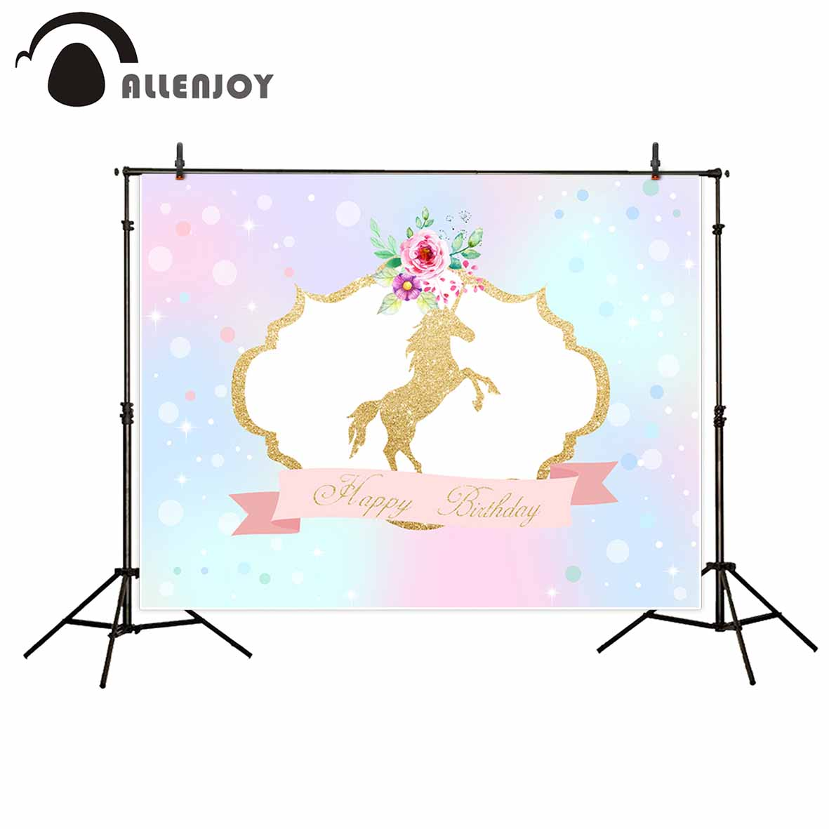 Allenjoy photography backdrops Golden unicorn flowers birthday background colorful bubbles photo backdrop for kids photocall allenjoy studio photo background vintage colorful flags birthday blue floor photocall vinyl backdrops for photography