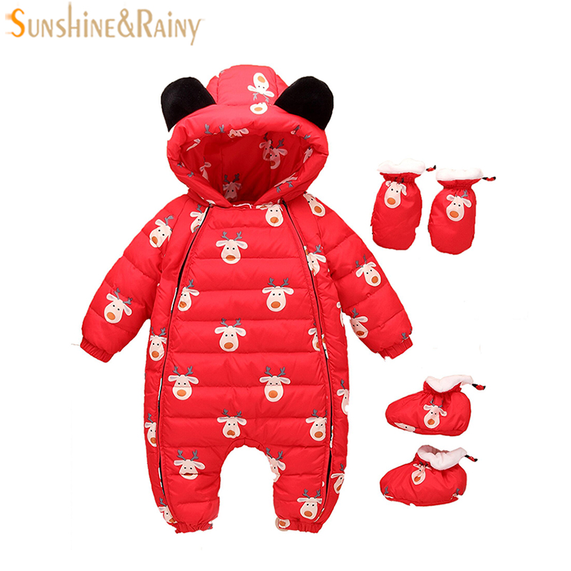 Christmas Deer Winter Warm Baby Girl Boy Snowsuit Duck Down Baby Rompers Hooded Newborn Overalls Baby Clothing Children Jumpsuit купить в Москве 2019