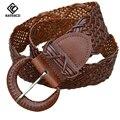 [KAITESICZI] 2017 100% piel de vaca de las nuevas mujeres señoras cinturón trenzado cinturón de cuero cinturón ancho decorado con cintura salvaje casual