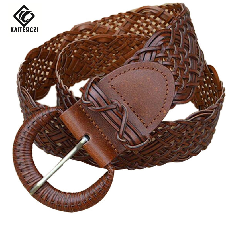 KAITESICZI  2017 100% cowhide new women s wide belt decorated ladies  leather belt braided belt with waist wild casual-in Women s Belts from  Apparel ... 7583758c0f