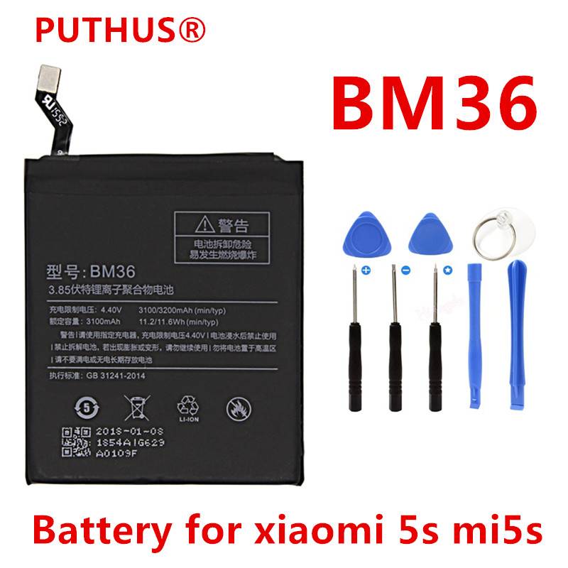 PUTHUS Cell-Phone-Battery Xiaomi 3200mah For 5S Mi5s
