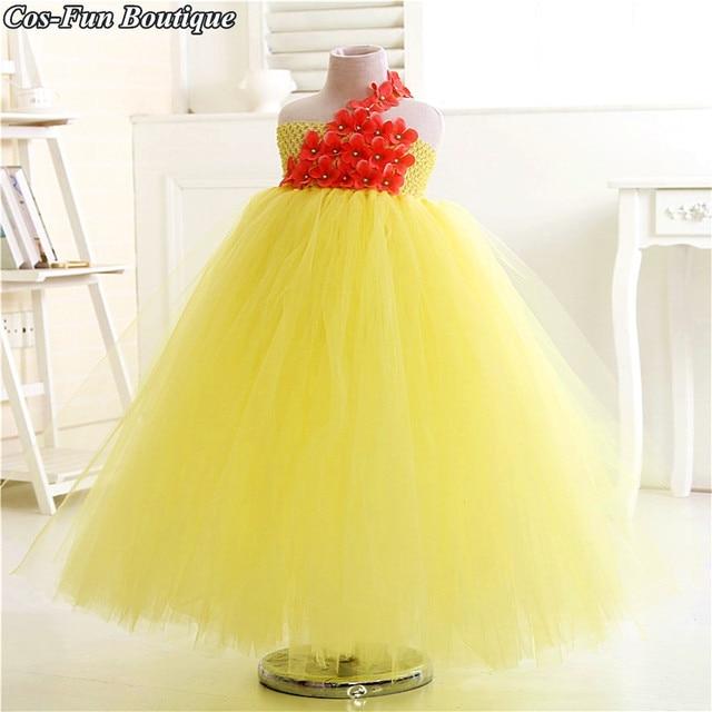6fb125bdea35 4 Colors Puffy Tulle Flower Girl Dress One Shoulder Girls Wedding ...