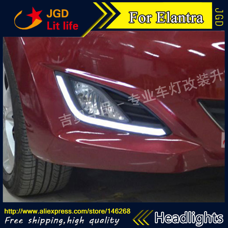 Free Shipping ! 12V 6000k LED DRL Daytime Running Light For Hyundai Elantra Fog Lamp Frame Fog Light Car Styling