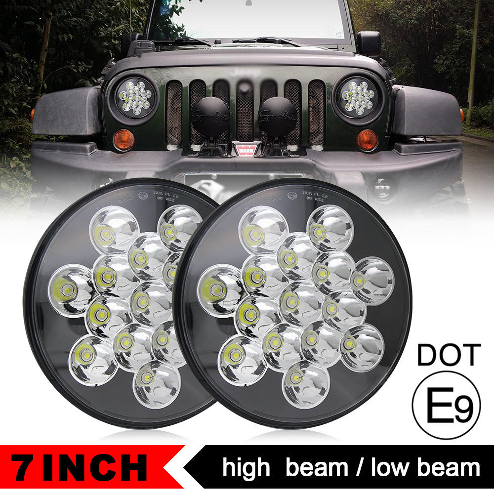 COLIGHT 45W 7 Inch Round LED Headlight 12V 24V Led Auto Turn Signal Light DRL For Jeep Wrangler Hummer lada niva 4x4 Harley Ford black chrome 2pcs 7inch round 105w led headlight drl turn signal for jeep wrangler hummer 4x4 4wd suv driving headlamp