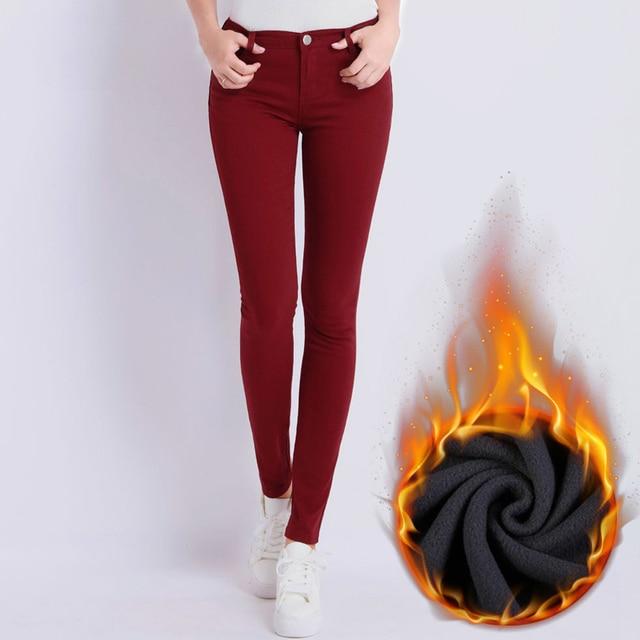 Fleece Thick High Waist Pencil Women's Pants Solid Stretch Velvet Long Trousers For Women 2018 Autumn Winter Clothes Plus Size