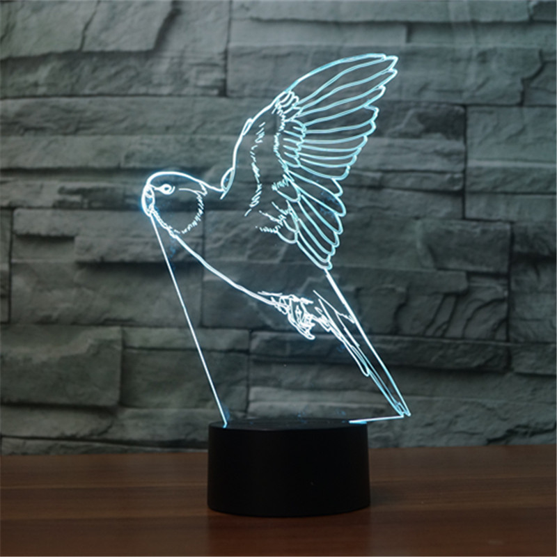 Toys & Hobbies Free Shipping New Parrot 3d Night Lamp Seven Color Gradient Led Acrylic Visual Lamp Creative Touch Illusion Lamp Christmas Gift