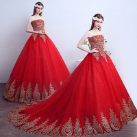 Fansmile 2019 Free Shipping Vintage Lace Red Wedding Dresses Long Train Plus Size Bridal Ball Gown Robe de Mariee Cheap FSM 118T