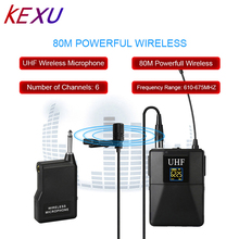 KEXU Professional UHF Wireless Microphone System Lavalier Lapel Mic Receiver + Transmitter for Camcorder Recorder