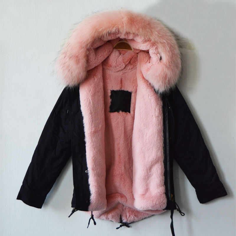 italy new fashion style black jacket parka with light pink. Black Bedroom Furniture Sets. Home Design Ideas
