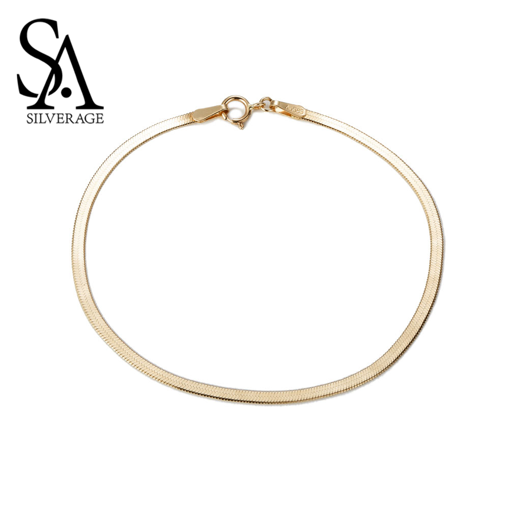 SA SILVERAGE 14K Pure Yellow Gold Snake Bones New Bracelet For Women Fine Jewelry Wide 2mm