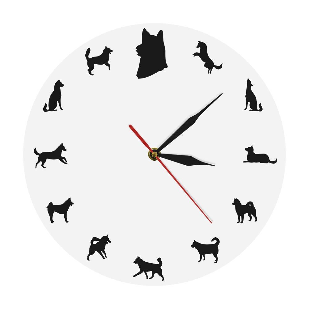 1Piece Husky Portrait Dog Clock Unique Wall Clock Gift For Pet Lovers Home Wall Art Deco Alaskan Husky Iconic Animals Wall Clock