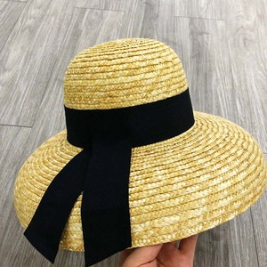 Image 4 - Wide Brim Women Sun Hat Wheat Straw Summer Beach Hat Elegant Cap UV Protection Black long Ribbon Bow Derby Travel Hats