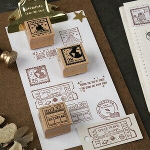 Image 3 - XINAHER בציר קוסמי נסיעות ירח תווית חותמת DIY עץ גומי בולים רעיונות מכתבים רעיונות בול רגיל