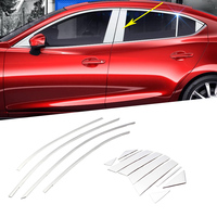 14PCS Stainless Sreel Car Exterior Window Pillar Decoration Cover Trim Styling Mouldings For Mazda 3 2017 2018 2019