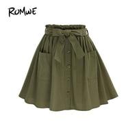 ROMWE Automne Printemps Femmes Jupe Dames Dessus Du Genou Casual Jupes Vert Olive Auto Cravate Bouton Avant Cercle Une Ligne Jupe