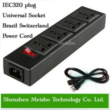 Multifunction 250v 13a 1 8m 4 jacks Universal power outlet IEC 320 plug adaptor Brazil Switzerland