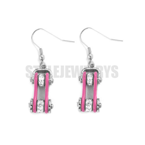 >Bling Bicycle Chain Crystal Biker Girls Stainless Steel Drop Earrings Colorful Pink Red <font><b>Blue</b></font> <font><b>Violet</b></font> <font><b>Black</b></font> Silver Color SJE0127