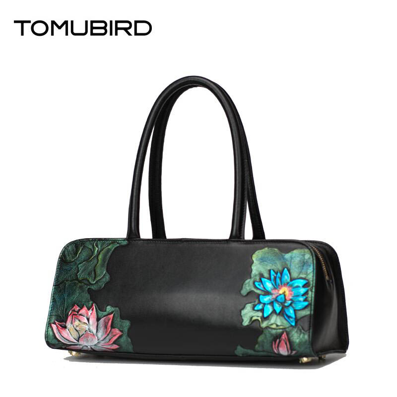 Cow leather handbag  Original national wind leather bag Retro printing hand bag Chinese wind shoulder Messenger bag