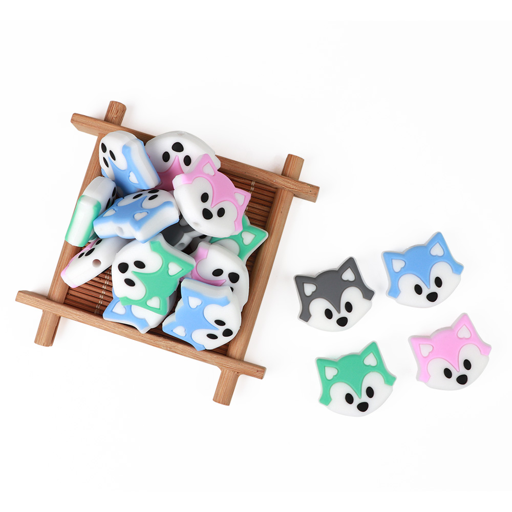 5PC Fox Head Silicone Teething Beads Baby Teether for Necklace Pacifier Chain