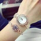 Часы-браслет из двух частей с браслетом Lady Quartz Модные студенческие часы 28 ①