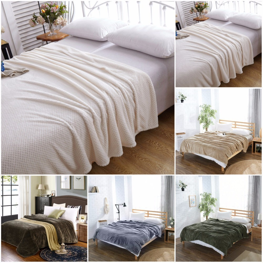 CAMMITEVER Luxury Blankets Mesh Flannel Blanket Thickened Coral Fleece Soft Luxurious Solid Blanket for Sofa/Bed Soft Throw-in Blankets from Home & Garden