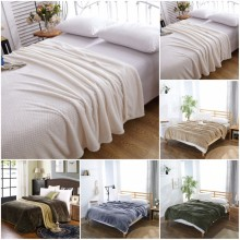 CAMMITEVER Luxury Blankets Mesh Flannel Blanket Thickened Coral Fleece Soft Luxurious Solid Blanket for Sofa/Bed Soft Throw