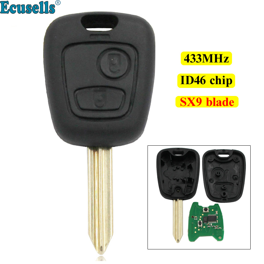 2 Buttons Remote <font><b>Key</b></font> fob 433MHz with ID46 chip for <font><b>Citroen</b></font> C2 <font><b>C3</b></font> C4 Xsara Picasso Berlingo SX9 uncut blade image