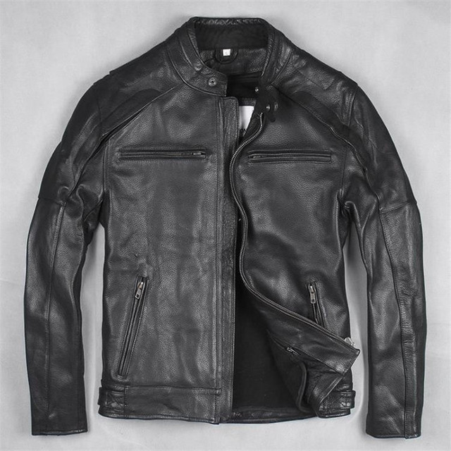 2017 Men Leather Biker Jacket Black Stand Collar Plus Size XXXL Genuine Cowhide Slim Fit  Winter Motorcycle Coat FREE SHIPPING