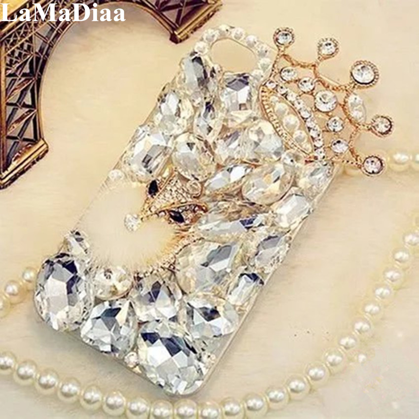 LaMaDiaa <font><b>3D</b></font> Rhinestone Case for <font><b>Samsung</b></font> Galaxy J5 J4 J6 <font><b>J7</b></font> J8 2018 A6 A8 A7 A5 A3 Bling Crystal Diamond Protective Shell Cover image