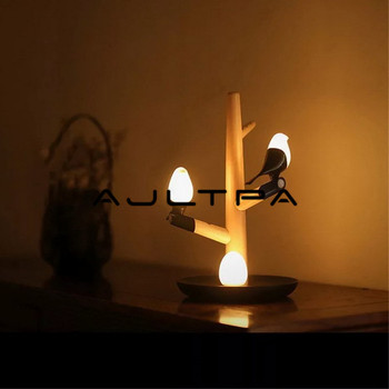 Chinese Style Lucky Bird LED Night Table Lamp Wood Base Intelligent Motion Sensor Desk Light Wedding Party Decoration Free DHL