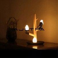 Chinese Style Lucky Bird LED Night Table Lamp Wood Base Intelligent Motion Sensor Desk Light Wedding Party Decoration Free DHL