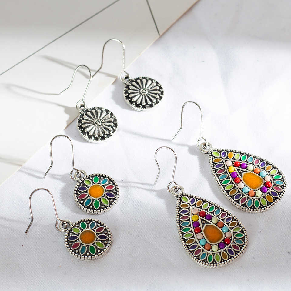 Multiple 3 Pairs/Set Vintage Bohemian Boho Ethnic Dangle Drop Earrings for Women Antique Hanging Earrings Jewelry Accessories