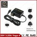 De calidad superior 20 v 3.25a 65 w adaptador de corriente para portátil lenovo yoga 4 700 900 yoga3 yoga700 yoga900 ee. uu./reino unido/au/enchufe de la ue portable cargador