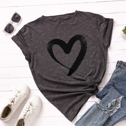 Plus Size S-5XL New Heart Print T Shirt Women 100% Cotton O Neck Short Sleeve Summer T-Shirt Tops Casual Tshirt women shirts 11