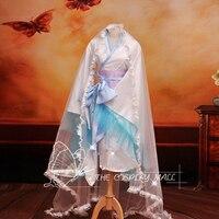 Reine des neiges Yukinokouji Nobara kostümleri kız anime cosplay için yetişkin kar kraliçe Kimono elbise Ile 2 metre mantilla