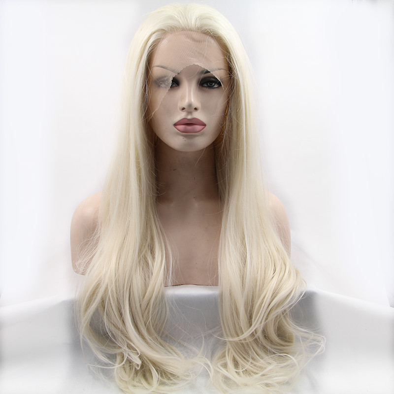 Sylvia 60 Natural Wave Hair Wig Blonde Synthetic Lace Front Wigs For Women Heat Resistant Fiber