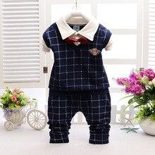 Infant Gentleman Bow Tie Cotton Blouse Shirt Jeans Pants 2pcs Baby Boy Tracksuit Clothing Set Children Warm Handsome Sport Suit