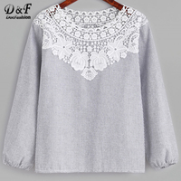 Dotfashion Vertical Pinstriped Contrast Lace Trim Blouse Black And White Round Neck Cute Woman Top Long